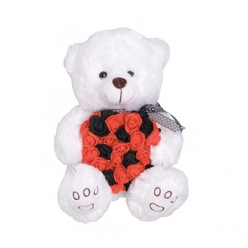 Teddy bear with black and red roses heart