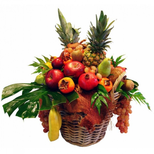 Basket with selected variety of fruits