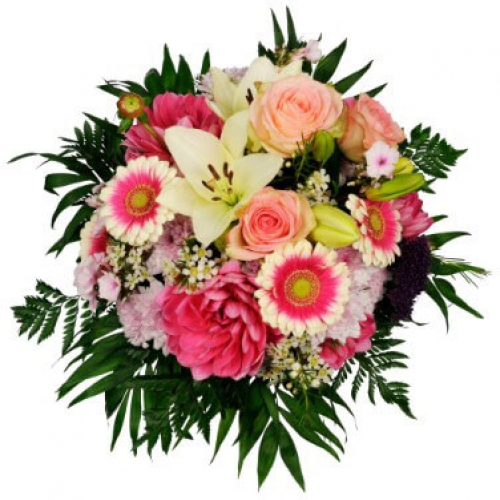 Bouquet with pink and mangeta colours