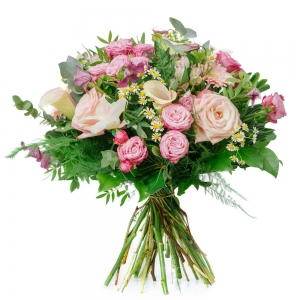 Bouquet with roses, orchids and alstroemeria