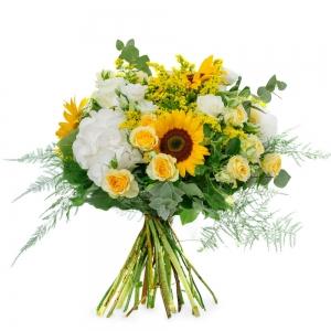 Μπουκέτο με ορτανσία, ηλίανθους και τριαντάφυλλα μινιόν