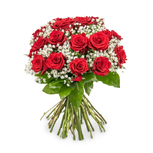 Red roses bouquet with baby's breath