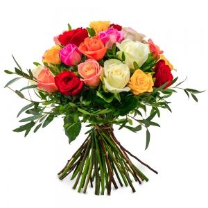 Μπουκέτο με πολύχρωμα τριαντάφυλλα