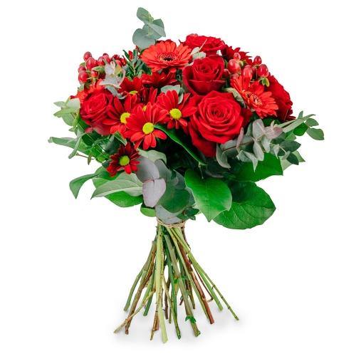 Red bouquet with roses, gerberas and chrysanthemum