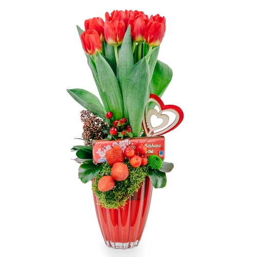 Red tulips, strawberries and chocolate
