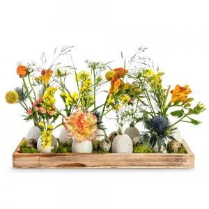 Πασχαλινός ξύλινος δίσκος με λουλούδια της εξοχής