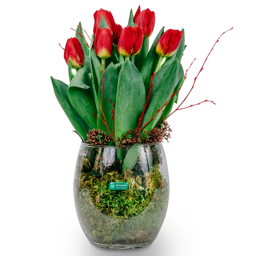 Arrangement with tulips in a glass vaze